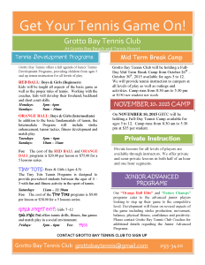 GBTC Junior Programs Flyer Term 1 Oct 2015